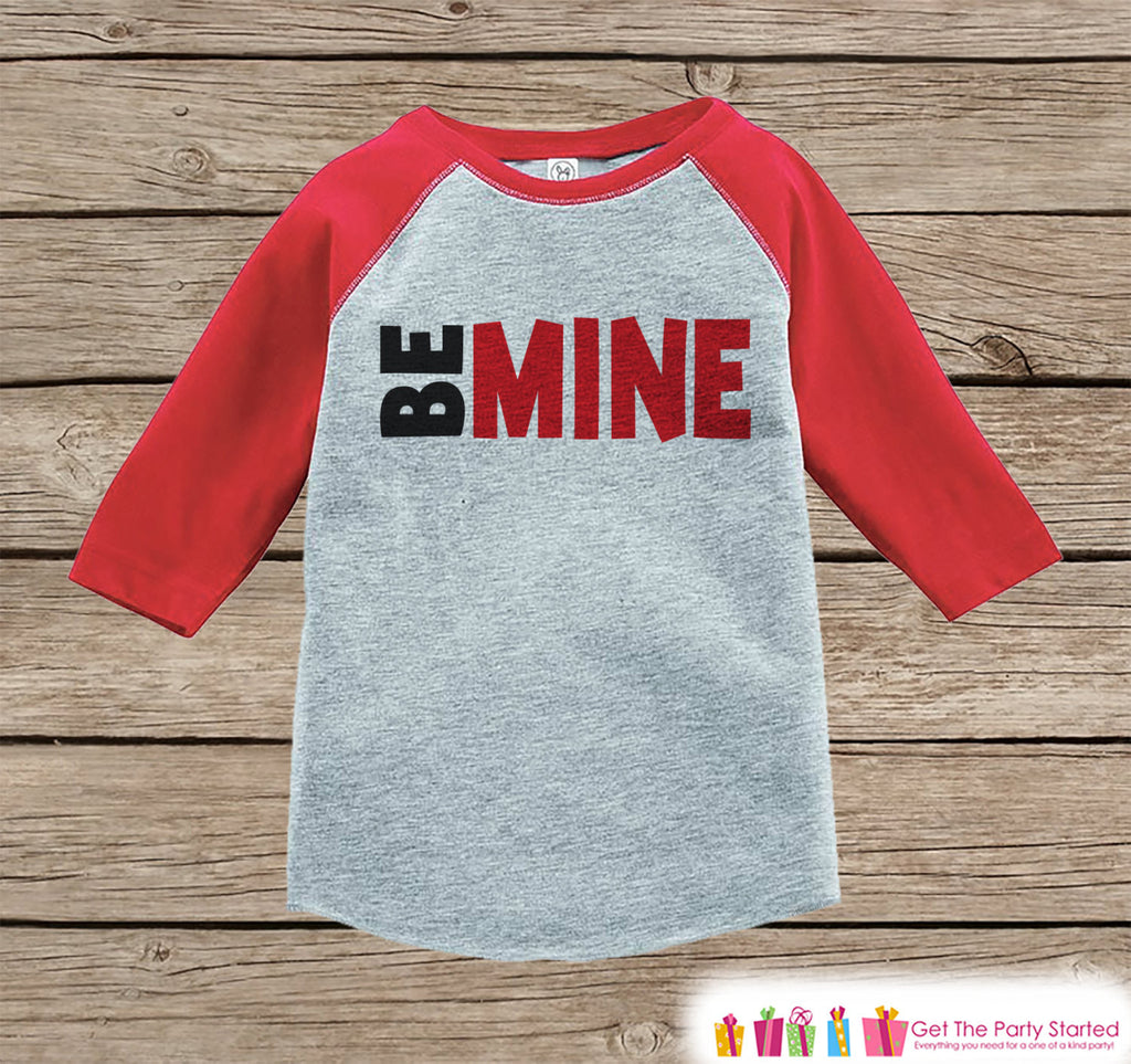 Kids Valentines Outfit - Be Mine Valentine's Day Shirt or Onepiece - Valentine Shirt for Boy or Girl - Baby Toddler Youth - Red & Black Top - Get The Party Started