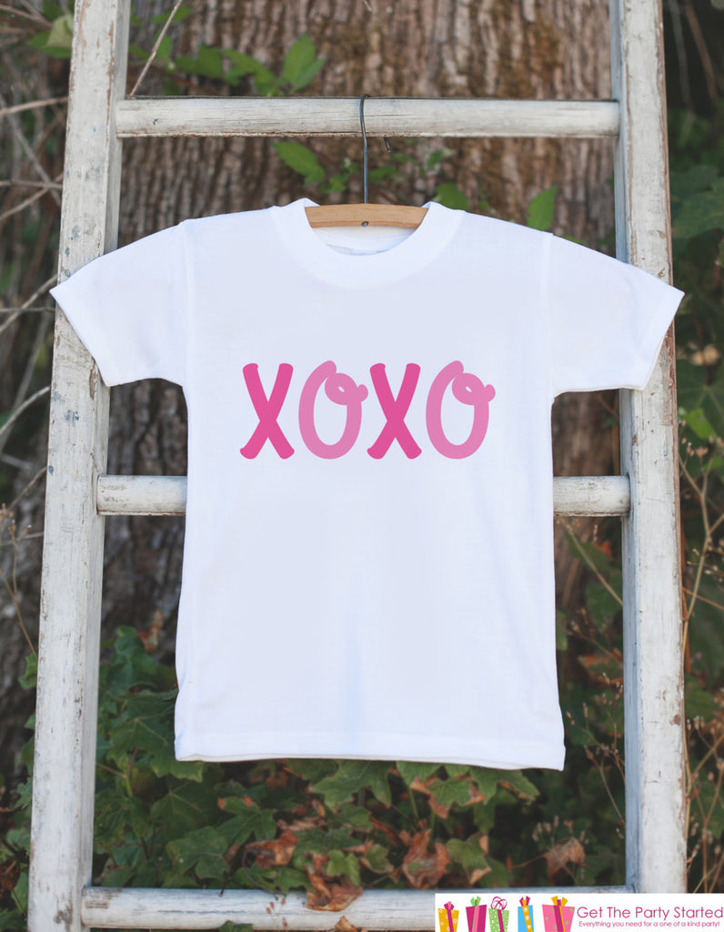Girls Valentines Day Outfit - XOXO Valentines Day Onepiece or Tshirt - Pink Girls Valentine's Day Shirt - Girls Happy Valentine's Day Outfit - Get The Party Started