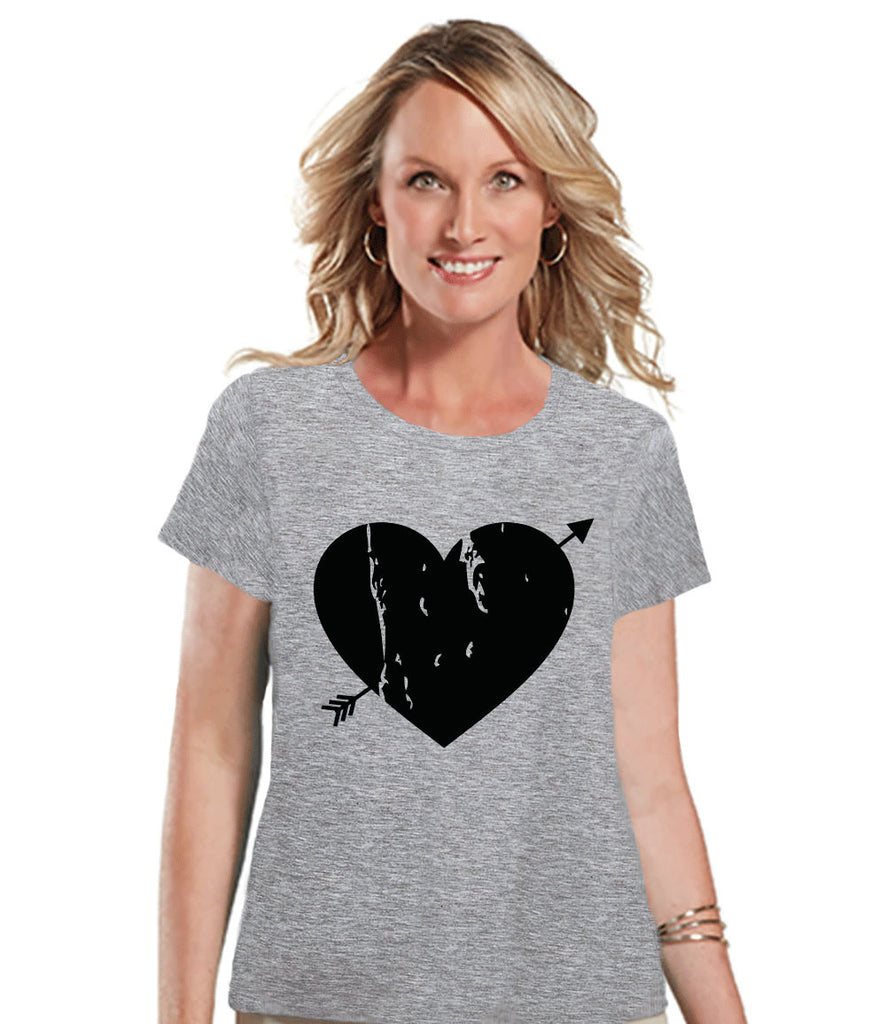 Ladies Valentine Shirt - Womens Heart Arrow Shirt - Valentines Gift for Her - Cupid Shirt - Rustic Happy Valentine's Day - Grey T-shirt - Get The Party Started