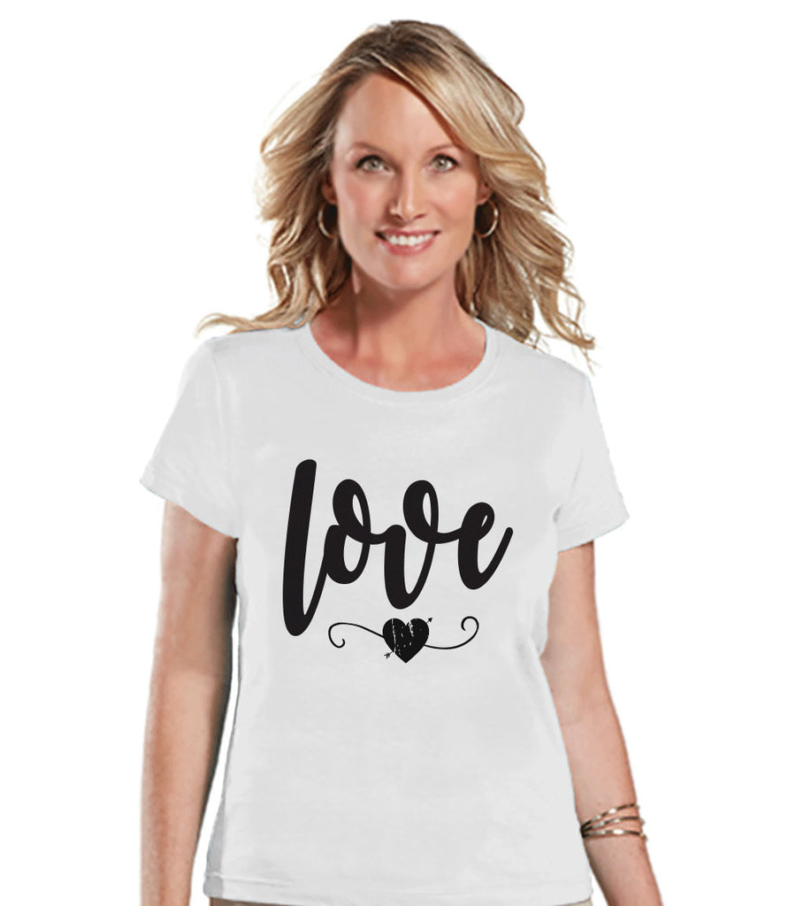 Ladies Valentine Shirt - Love Valentines Shirt - Womens Happy Valentines Day Shirt - Valentines Gift for Her - Black Heart - White T-shirt - Get The Party Started