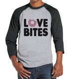 Men's Valentine Shirt - Funny Food Valentine Shirt - Love Bites Tee - Happy Valentines Day - Anti Valentines Gift for Him - Grey Raglan - Get The Party Started