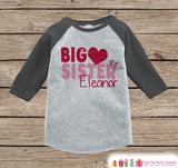Big Sister Valentine's Outfit - Kids Happy Valentine's Day Onepiece or Shirt - Girls Heart Shirt - Big Sister Little Sister Outfits - Grey