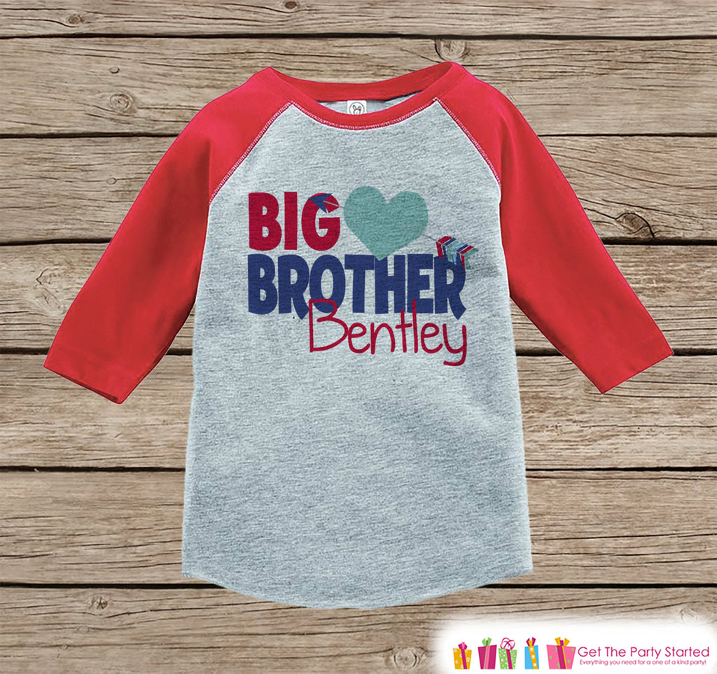 Big Brother Valentine's Outfit - Kids Happy Valentine's Day Onepiece or Shirt - Boys Heart Shirt - Big Brother Little Brother Outfits - Red