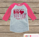 Big Sister Valentine's Outfit - Pregnancy Announcement Onepiece or Shirt - Red Heart Shirt for Girls - Big Sister Little Sister Outfits Pink