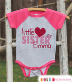 Little Sister Valentine's Outfit - Kids Happy Valentine's Day Onepiece or Shirt - Girls Shirt - Big Sister Little Sister Outfits - Pink