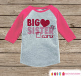 Big Sister Valentine's Outfit - Kids Happy Valentine's Day Onepiece or Shirt - Girls Heart Shirt - Big Sister Little Sister Outfits - Pink