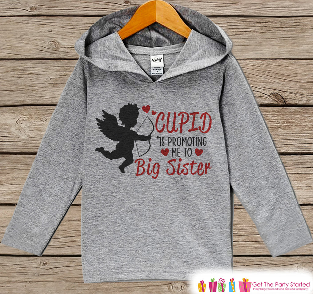 Big Sister Valentine Hoodie - Kid's Valentine's Day Pregnancy Reveal - Girls Valentine's Pregnancy Announcement - Cupid Pregnancy Reveal