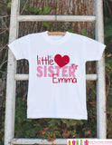 Girl's Valentine Little Sister Shirt or Onepiece - Sibling Outfits - Custom Valentine's Day Outfit - Big Sister Little Sister Sibling Shirts