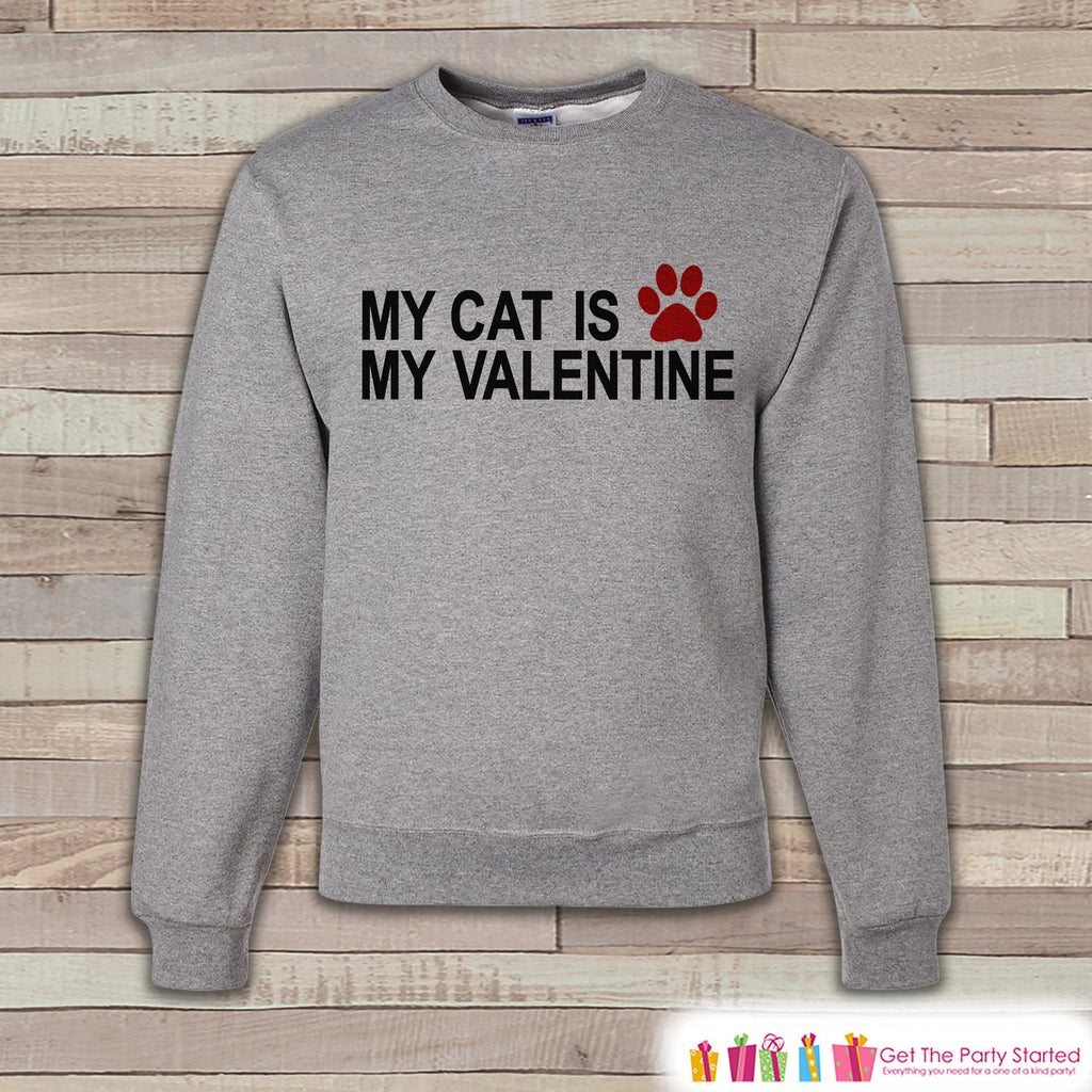 Men's Valentine Shirt - Funny Valentines Day Sweatshirt - Cat Shirt - Humorous Anti Valentines Day Shirt - Grey Adult Crewneck Sweatshirt - Get The Party Started