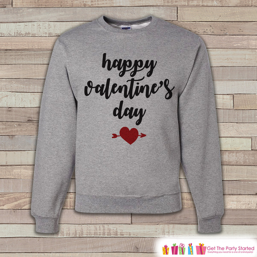 Adult Valentine Shirt - Womens Valentines Day Sweatshirt - Red Heart Happy Valentines Day Shirt - Grey Adult Crewneck Sweatshirt - Get The Party Started