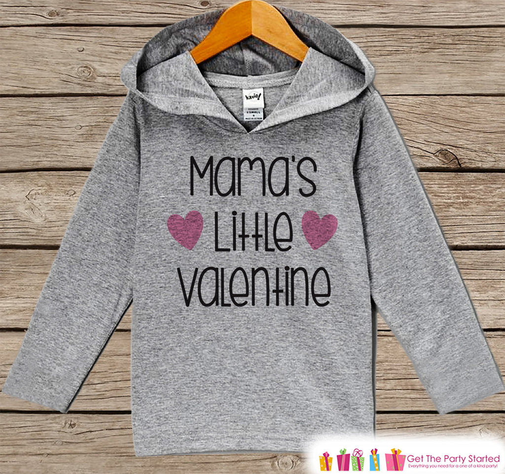 Kids Valentines Day Outfit - Girl's Hoodie - Mama's Little Valentine Pullover - Girls Valentine's Day Outfit - Baby, Kids, Toddler Hoodie - Get The Party Started