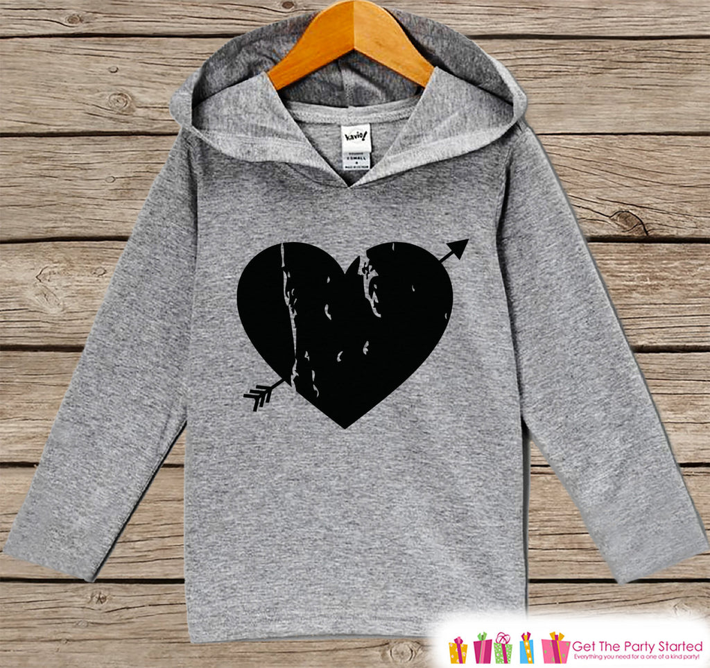 Kids Valentines Day Outfit - Kids Hoodie - Black Heart Arrow Valentine Pullover - Valentine's Day Outfit - Baby, Kids, Toddler Shirt - Get The Party Started