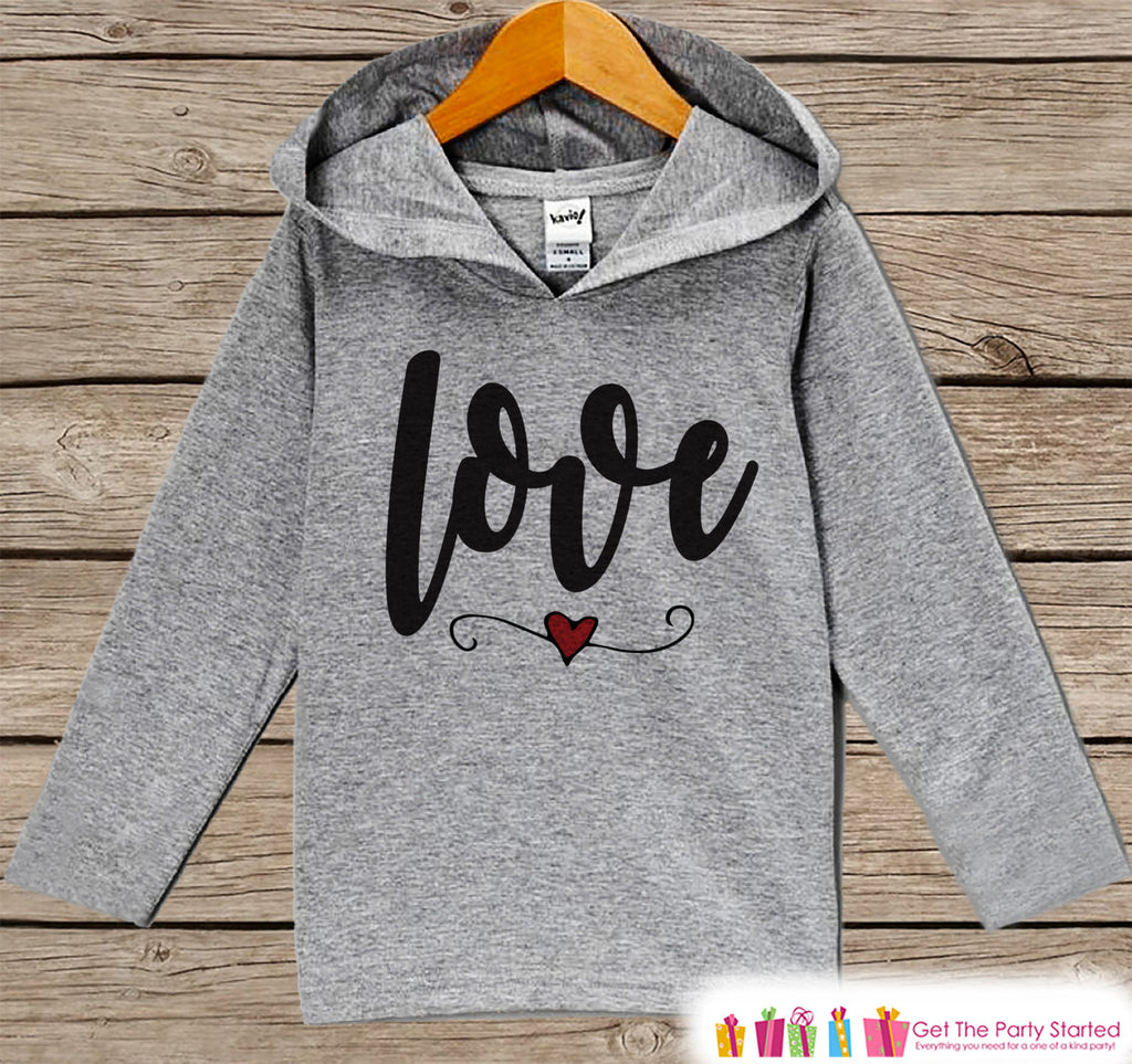 Kids Valentines Day Outfit - Kids Hoodie - Love Script Valentine Pullover - Baby Girls Valentine's Day Outfit - Baby, Kids, Toddler Shirt - Get The Party Started