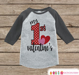 Baby Valentines Outfit - My 1st Valentine's Day Shirt or Onepiece - Boy or Girl Valentine Shirt - Kids, Baby, Toddler, Youth - Grey Raglan - Get The Party Started