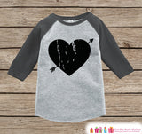 Kids Valentines Outfit - Black Heart Valentine's Day Shirt or Onepiece - Boy or Girl Valentine Shirt - Baby, Toddler, Youth - Grey Raglan - Get The Party Started