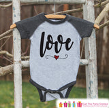 Kids Valentines Outfit - Love Script Valentine's Day Shirt or Onepiece - Boy or Girl Valentine Shirt - Baby, Toddler, Youth - Grey Raglan - Get The Party Started