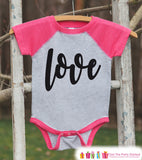 Girls Valentines Outfit - Love Script Valentine's Day Shirt or Onepiece - Girls Valentine Shirt - Kids, Baby, Toddler, Youth - Pink Raglan - Get The Party Started
