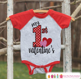 Baby Valentines Outfit - My 1st Valentine's Day Shirt or Onepiece - Boy or Girl Valentine Shirt - Kids, Baby, Toddler, Youth - Red Raglan - Get The Party Started