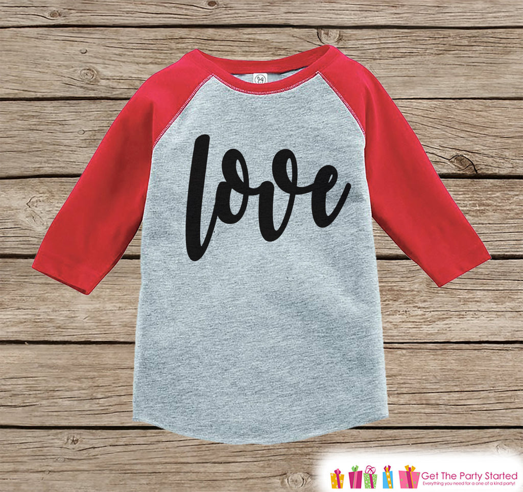 Kids Valentines Outfit - Black Love Script Valentine's Day Shirt or Onepiece - Boy or Girl Valentine Shirt - Baby, Toddler, Youth - Red - Get The Party Started
