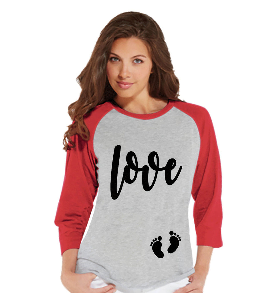 Valentine's Pregnancy Shirt - Love with Baby Feet Shirt - Pregnancy Reveal - Pregnancy Announcement - Womens Baseball Tee - Red Raglan Shirt
