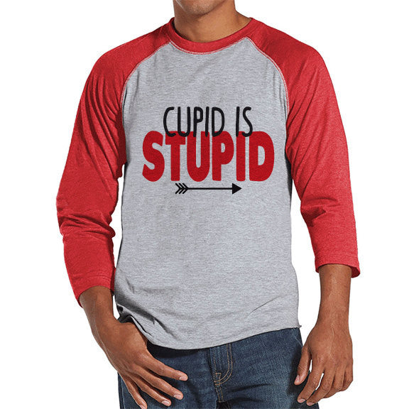 Men's Valentine Shirt - Funny Valentine Shirt - Cupid Is Stupid Tee - Happy Valentines Day - Anti Valentines Gift for Him - Red Raglan - Get The Party Started