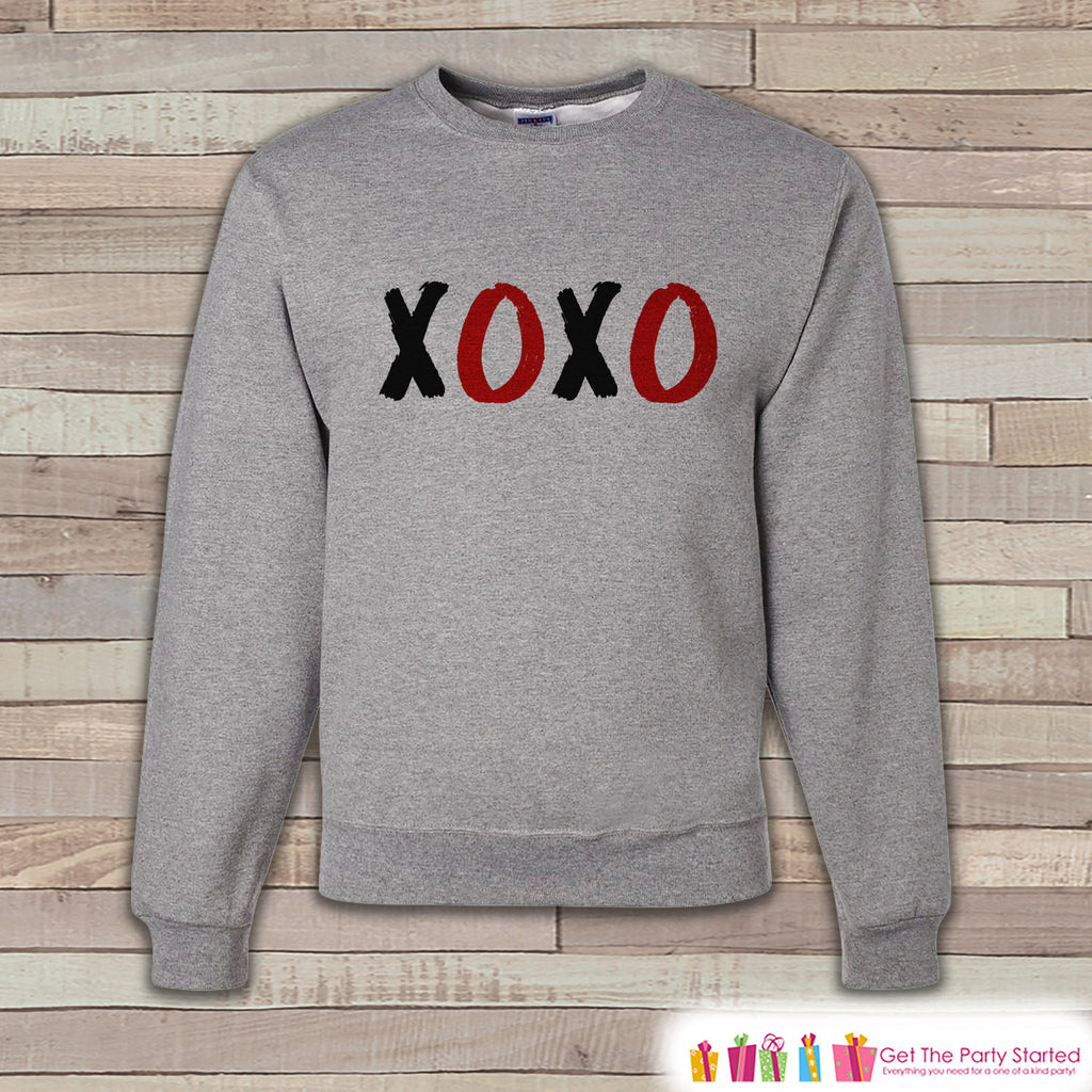 Adult Valentines Shirt - XOXO Valentines Day Sweatshirt - Hugs Kisses Happy Valentines Day Shirt - Grey Men's or Women's Crewneck Sweatshirt - Get The Party Started