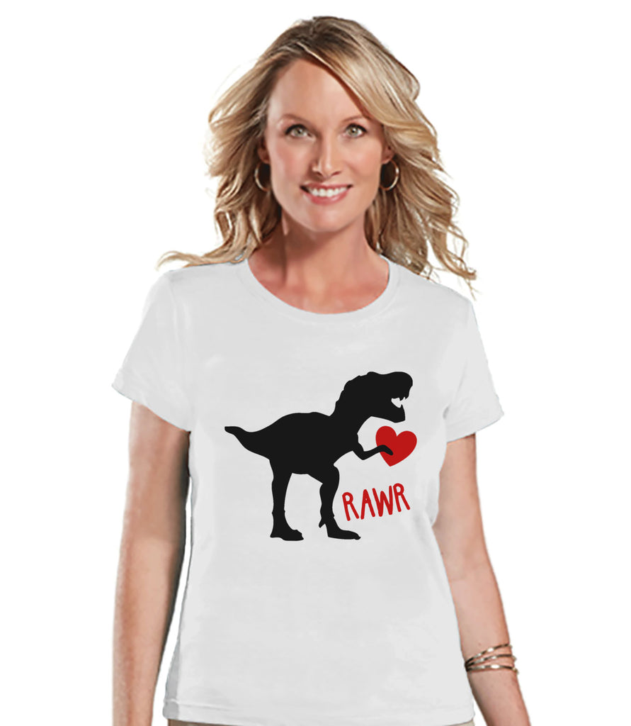 Ladies Valentine Shirt - Womens Dinosaur Valentines Day Shirt - Valentines Gift for Her - Dino Love Happy Valentine's Day - White T-shirt