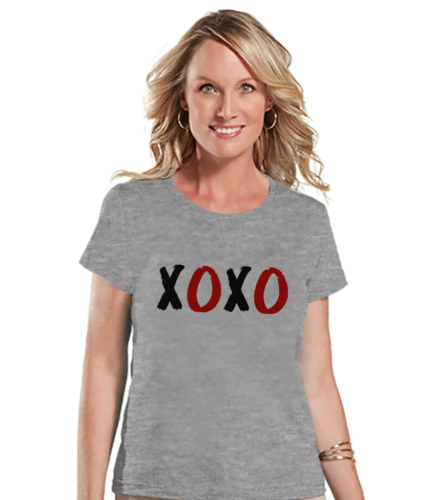 Ladies Valentine Shirt - Womens XOXO Valentines Day Shirt - Valentines Gift for Her - Hugs & Kisses Happy Valentine's Day - Grey T-shirt - Get The Party Started