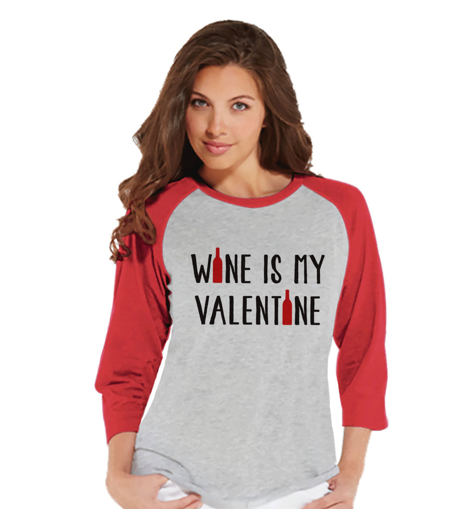 Ladies Valentine Shirt - Funny Wine Valentine Shirt - Womens Happy Valentines Day Shirt - Funny Anti Valentines Gift for Her - Red Raglan - Get The Party Started
