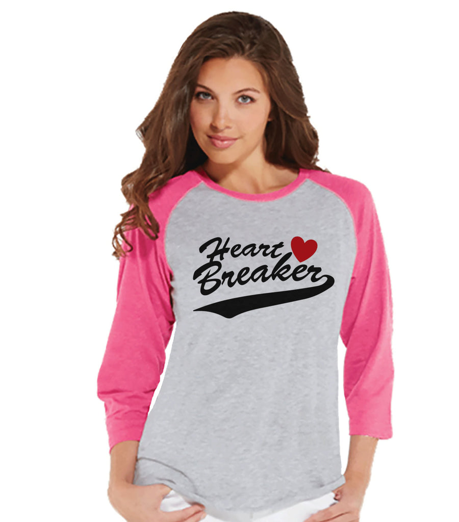 Ladies Valentine Shirt - Womens Heart Breaker Valentines Day Shirt - Valentines Gift for Her - Funny Happy Valentine's Day - Pink Raglan - Get The Party Started