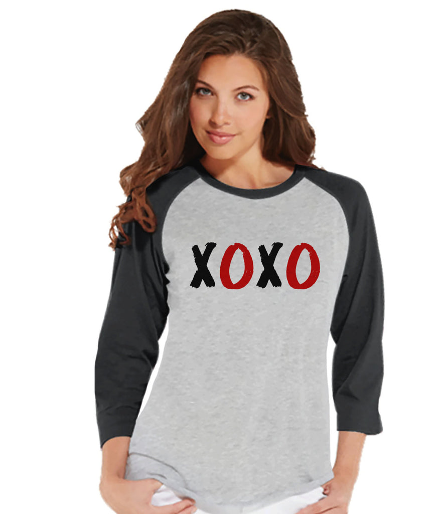 Ladies Valentine Shirt - Womens XOXO Valentines Day Shirt - Valentines Gift for Her - Hugs & Kisses Happy Valentine's Day - Grey Raglan - Get The Party Started