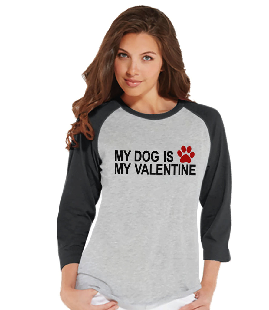 Ladies Valentine Shirt - Funny Dog Valentine Shirt - Womens Happy Valentines Day Shirt - Funny Anti Valentines Gift for Her - Grey Raglan - Get The Party Started