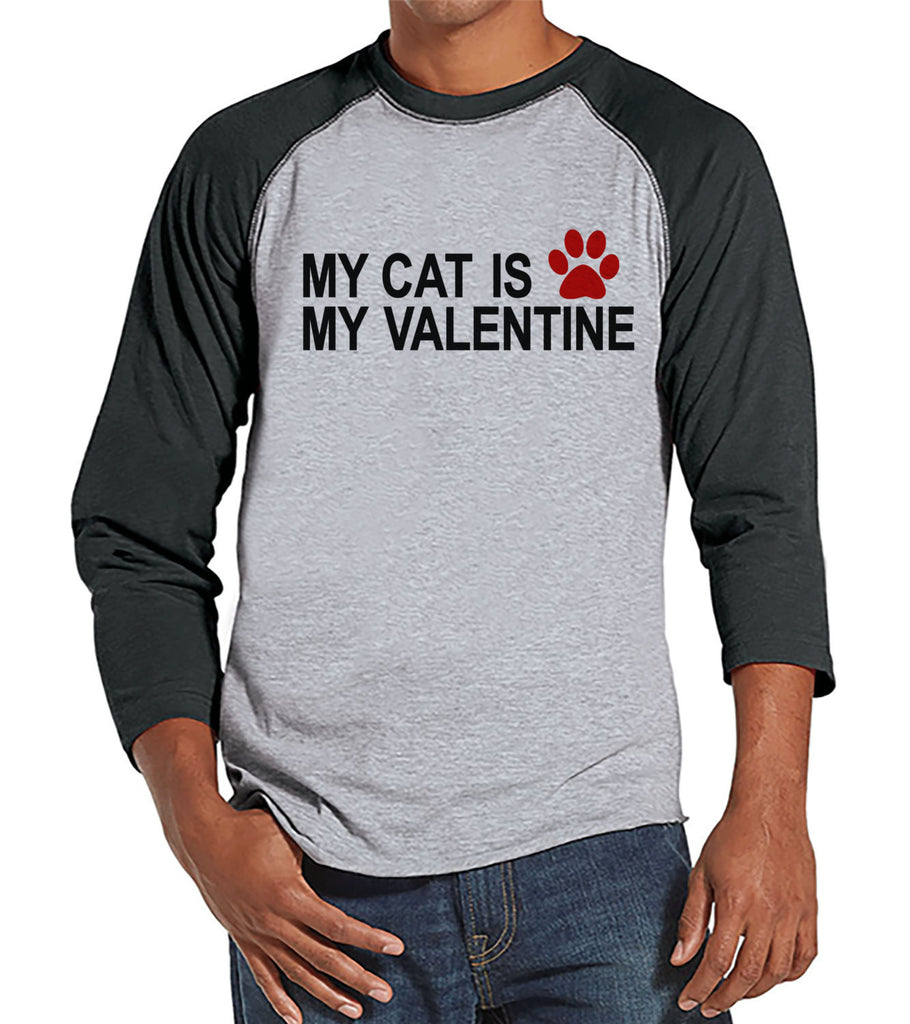 Men's Valentine Shirt - Funny Cat Valentine Shirt - Mens Happy Valentines Day Shirt - Funny Anti Valentines Gift for Him - Grey Raglan - Get The Party Started