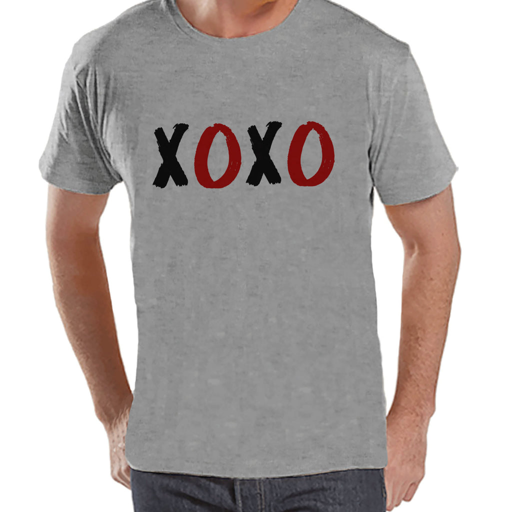 Men's Valentine Shirt - Mens XOXO Valentines Day Shirt - Valentines Gift for Him - Hugs & Kisses - Funny Happy Valentine's Day - Grey Tshirt - Get The Party Started