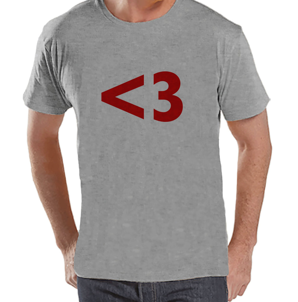 Men's Valentine Shirt - Mens <3 Red Heart Valentines Day Shirt - Valentines Gift for Him - Funny Happy Valentine's Day - Grey T-shirt - Get The Party Started