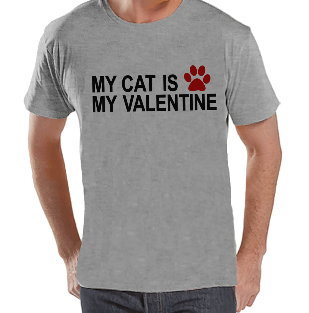 T-shirt's Valentine Shirt - Funny Cat Valentine Shirt - Mens Happy Valentines Day Shirt - Funny Anti Valentines Gift for Him - Grey T-shirt - Get The Party Started