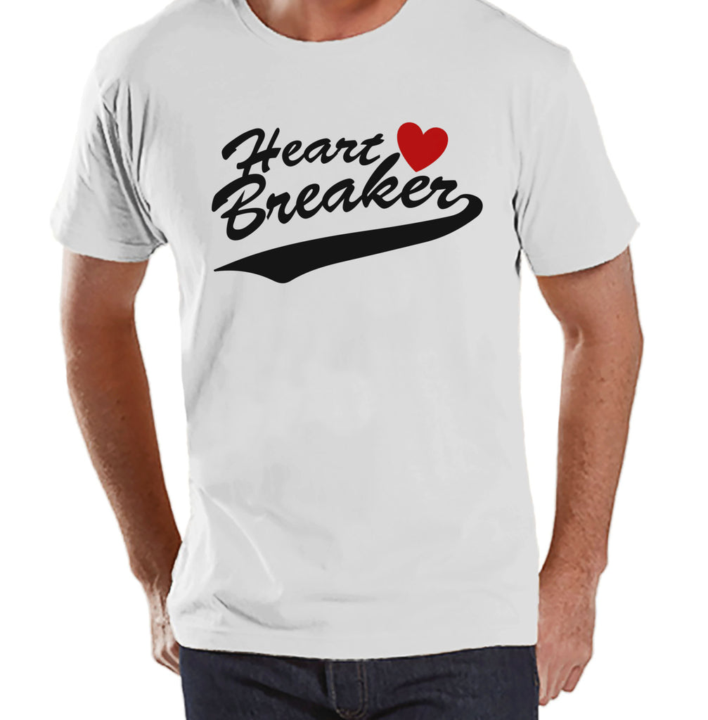 Men's Valentine Shirt - Funny Men's Heart Breaker Valentines Day Shirt - Valentines Gift for Him - Happy Valentine's Day - White T-shirt