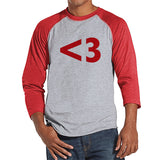 Men's Valentine Shirt - Mens <3 Red Heart Valentines Day Shirt - Valentines Gift for Him - Funny Happy Valentine's Day - Red Raglan Shirt - Get The Party Started