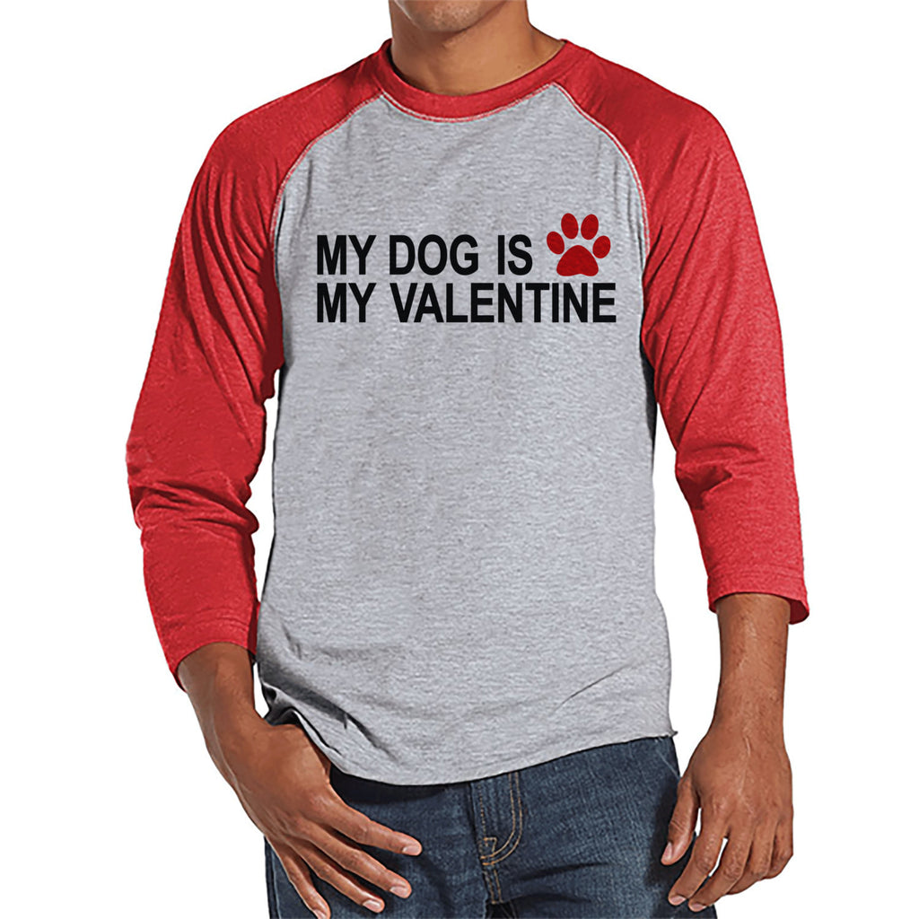 Men's Valentine Shirt - Funny Dog Valentine Shirt - Mens Happy Valentines Day Shirt - Funny Anti Valentines Gift for Him - Red Raglan Shirt - Get The Party Started