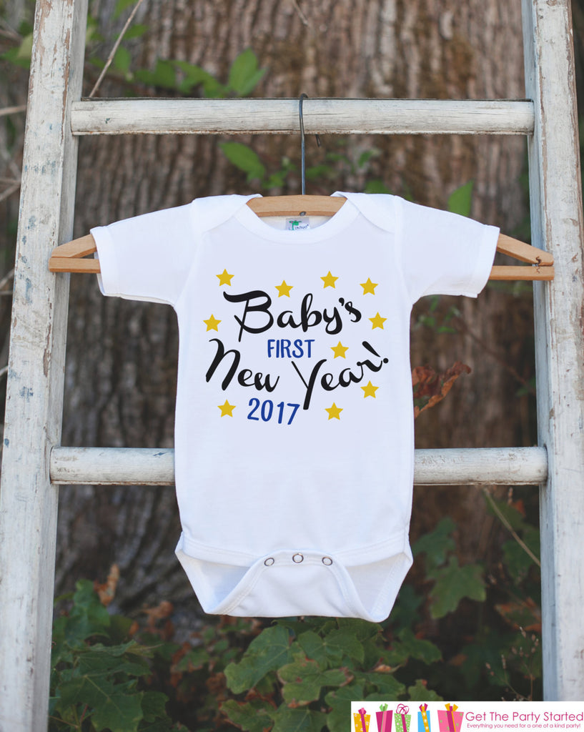 Babys First New Years Outfit - 2017 Happy New Years Eve Onepiece - Babys First Holiday - 1st New Year Bodysuit for Baby Boys - Yellow Stars - Get The Party Started
