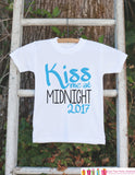Kiss Me at Midnight Outfit for Boys - 2017 Happy New Year Onepiece - New Years Shirt For Infant or Toddler - Childs 1st New Year Outfit - Get The Party Started