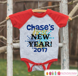 Custom New Years Outfit - New Years Eve - 2017 Happy New Years Onepiece - Kids Holiday Shirt - New Year Bodysuit for Baby - Red Baseball Tee - Get The Party Started