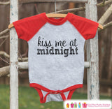 Kiss Me At Midnight Outfit - New Years Eve Onepiece or Shirt - 1st New Year Outfit Baby Boys or Baby Girls - Red Baseball Tee - Red Raglan - Get The Party Started