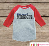 Kiss Me At Midnight Outfit - New Years Eve Onepiece or Shirt - 1st New Years Outfit Baby Boys or Baby Girls - Red Baseball Tee - Red Raglan - Get The Party Started