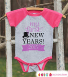 My First New Year Outfit - Personalized New Year's Eve Onepiece or Shirt - Baby's First Holiday with Name - Kids Raglan - Pink Baseball Tee - Get The Party Started