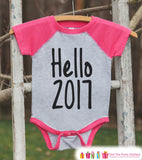 Hello 2017 - Happy New Year Outfit - New Years Eve Onepiece - 1st New Year Outfit for Baby Boys or Baby Girls - Pink Baseball Tee - Get The Party Started