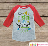 Little Mister New Year 2017 - New Years Eve Onepiece - Kids New Years Shirt - New Year Outfit for Baby Boys - Red Baseball Tee - Red Raglan - Get The Party Started