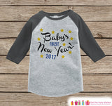 Babys First New Years Outfit - 2017 Happy New Years Eve Onepiece - Babys First Holiday - 1st New Year Girls Bodysuit - Grey Baseball Tee - Get The Party Started