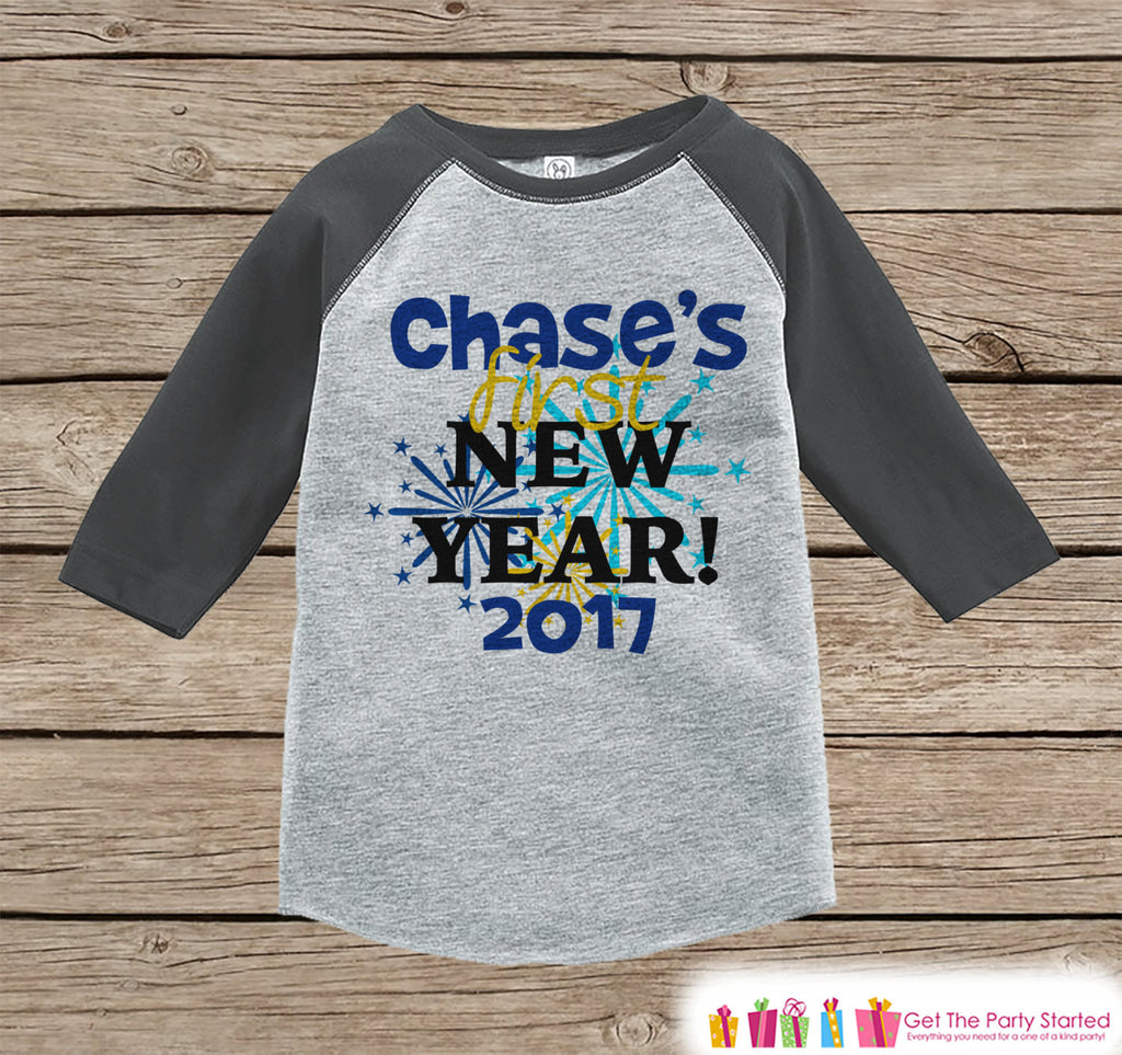 Custom New Years Outfit - New Years Eve - 2017 Happy New Years Onepiece - Kids Holiday Shirt - New Year Baby Bodysuit - Grey Baseball Tee - Get The Party Started