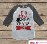 My First New Year Outfit - Personalized New Year's Eve Onepiece or Shirt - Baby's First Holiday with Name - Grey and Red Baseball Tee - Get The Party Started